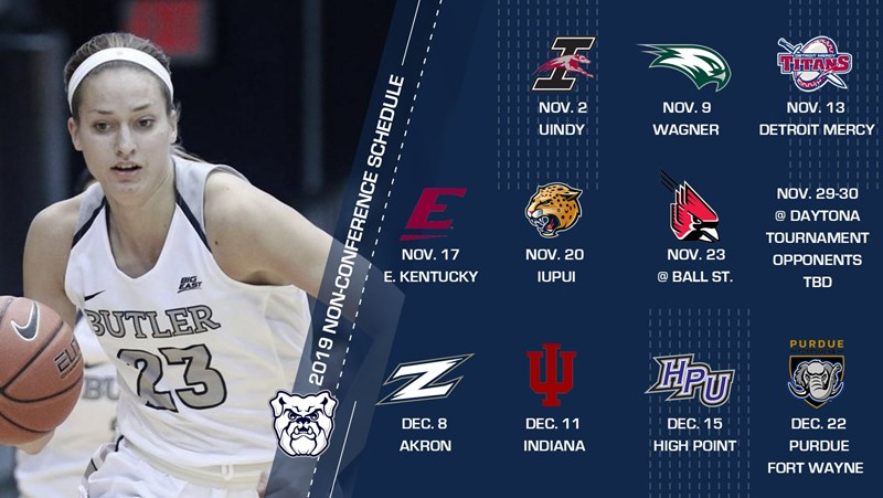 2019-20 @ButlerUWBB Non-Conference Schedule Includes 8 Home Games